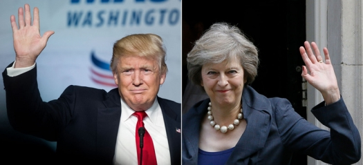 Associated Press/Photos by (Trump) Cliff Owen and (May) Kirsty Wigglesworth