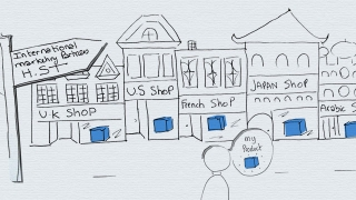 International shops cartoon